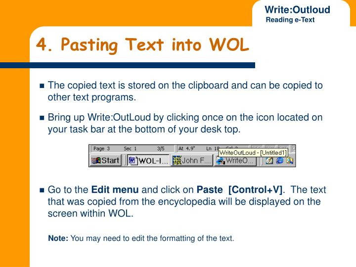 4. Pasting Text into WOL