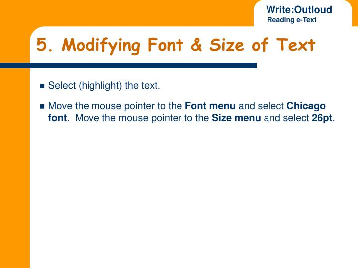 5. Modifying Font & Size of Text