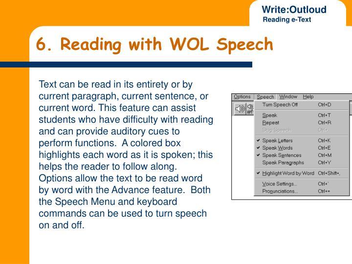 6. Reading with WOL Speech