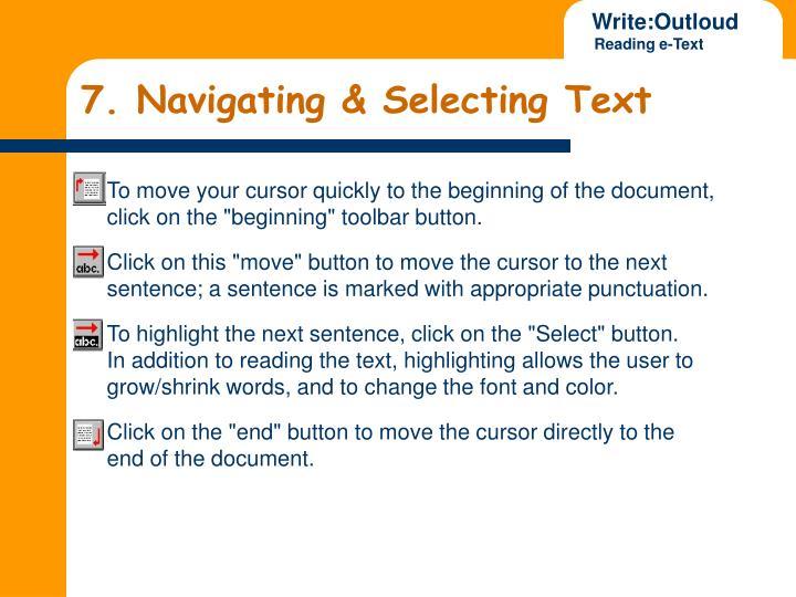 7. Navigating & Selecting Text