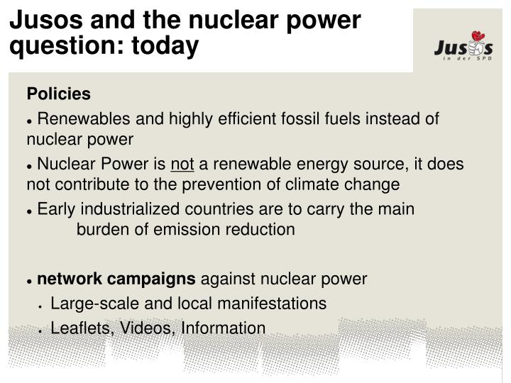 Jusos and the nuclear power question: today