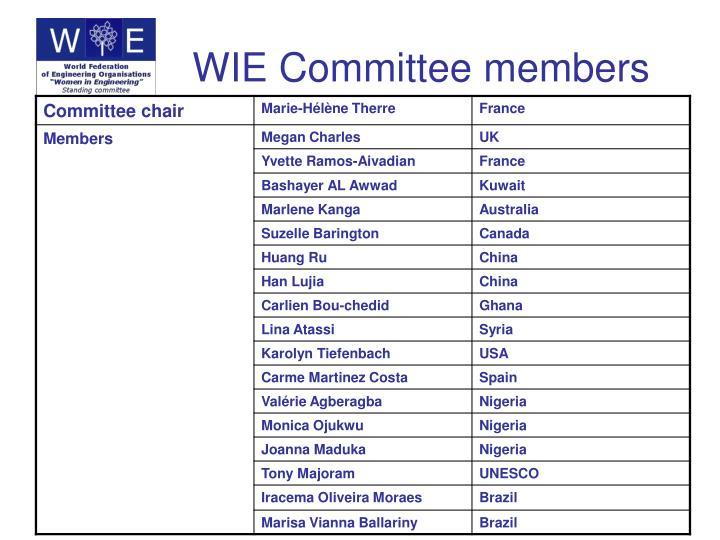 WIE Committee members