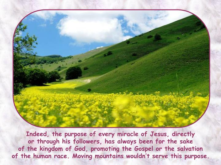 Indeed, the purpose of every miracle of Jesus, directly
