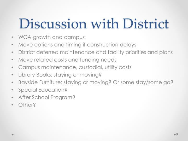 Discussion with District