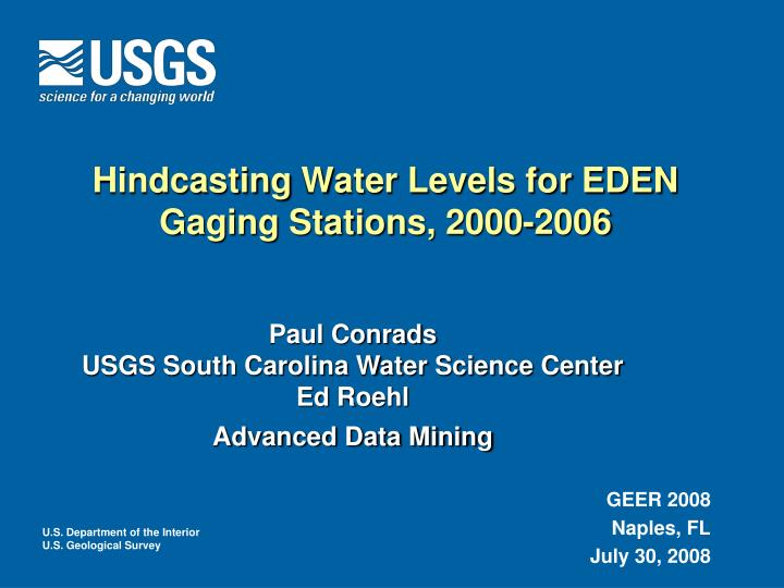 hindcasting water levels for eden gaging stations 2000 2006 n.
