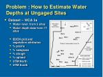 problem how to estimate water depths at ungaged sites