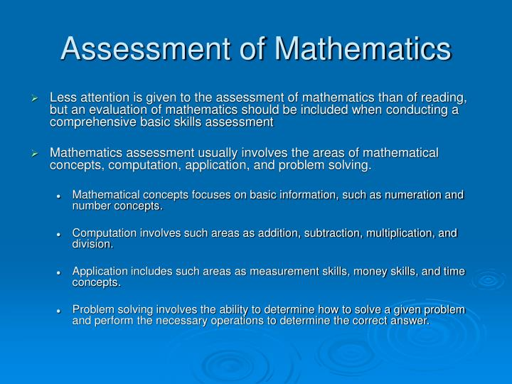 Assessment of Mathematics
