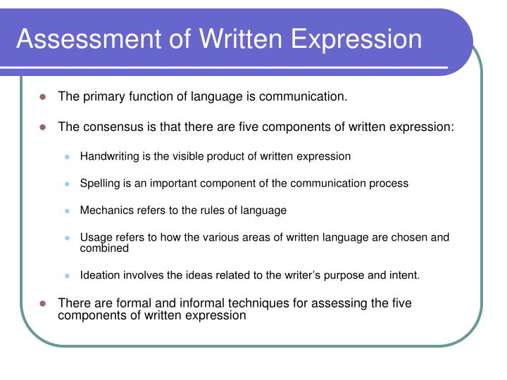 Assessment of Written Expression