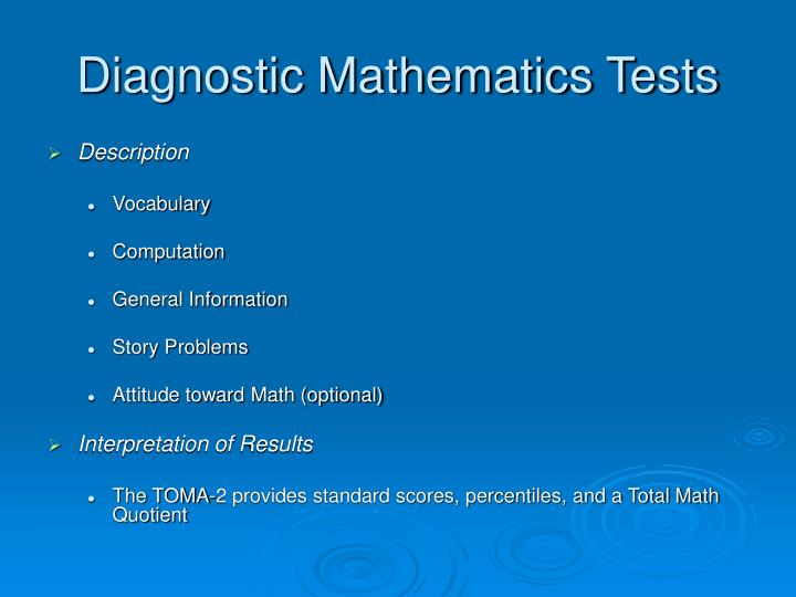 Diagnostic Mathematics Tests