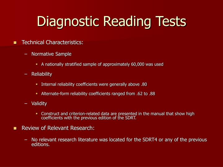 Diagnostic Reading Tests