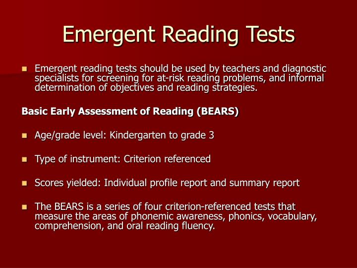 Emergent Reading Tests