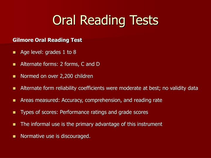 Oral Reading Tests