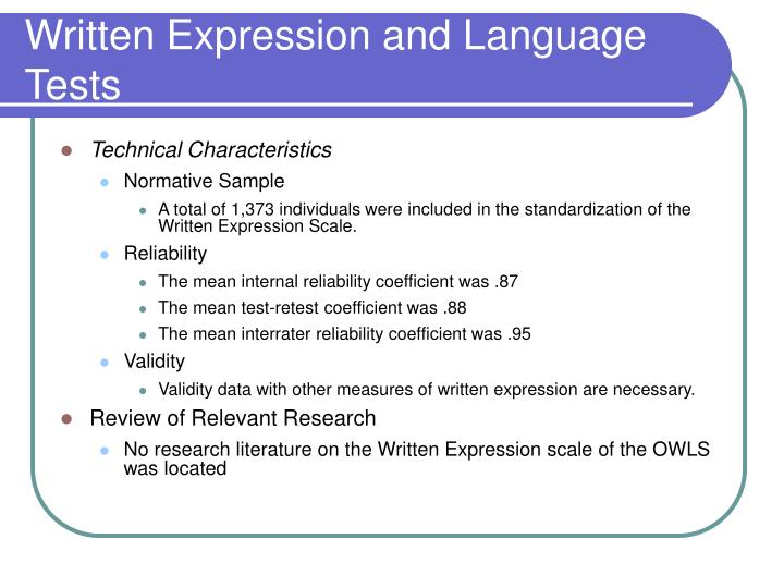 Written Expression and Language Tests