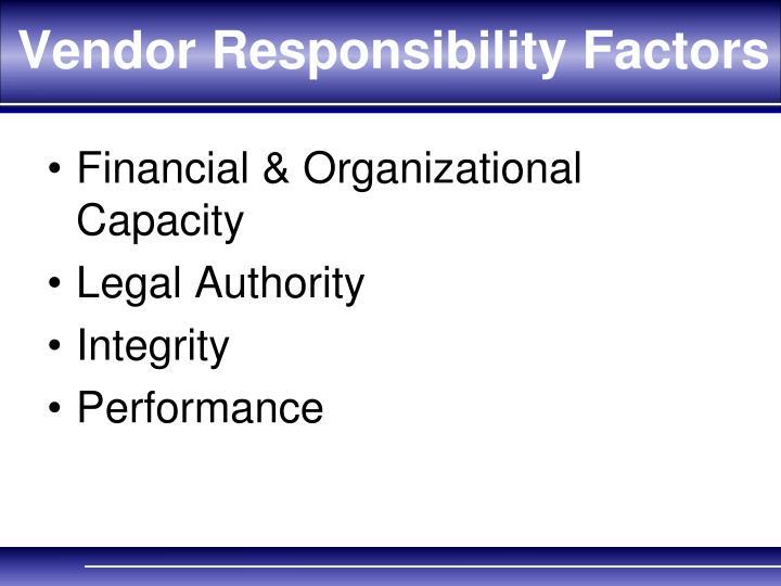 Vendor Responsibility Factors