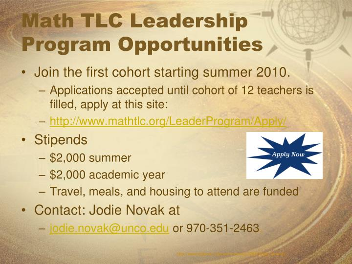 Math TLC Leadership Program Opportunities