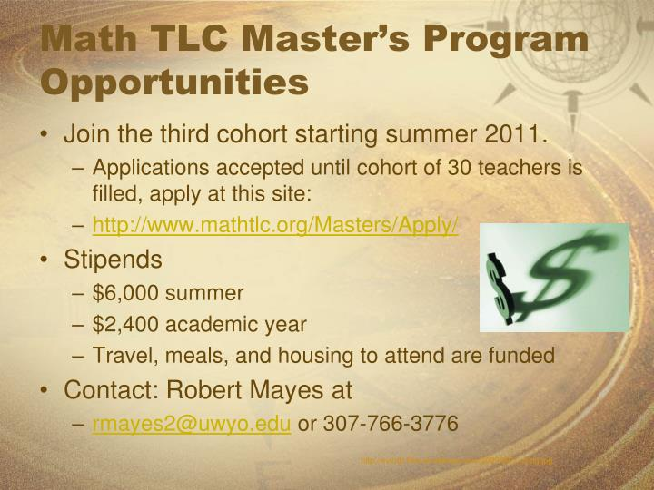 Math TLC Master's Program Opportunities