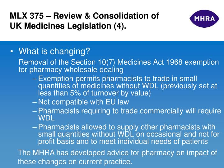 MLX 375 – Review & Consolidation of UK Medicines Legislation (4).