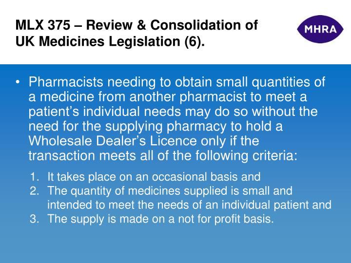 MLX 375 – Review & Consolidation of UK Medicines Legislation (6).