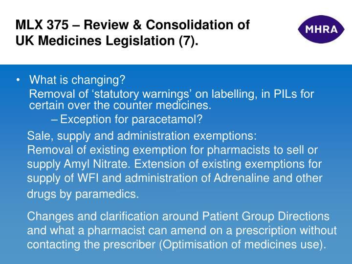 MLX 375 – Review & Consolidation of UK Medicines Legislation (7).