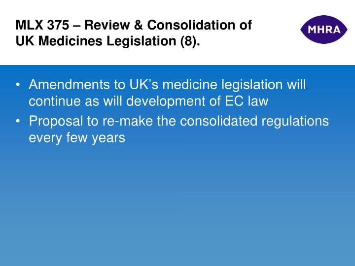 MLX 375 – Review & Consolidation of UK Medicines Legislation (8).