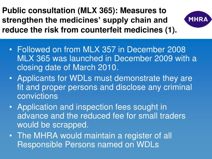 Public consultation (MLX 365): Measures to strengthen the medicines' supply chain and reduce the risk from counterfeit medicines (1).