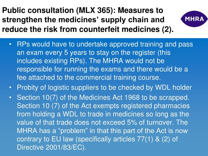 Public consultation (MLX 365): Measures to strengthen the medicines' supply chain and reduce the risk from counterfeit medicines (2).