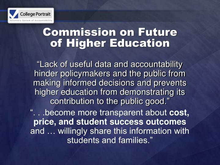 commission on future of higher education n.