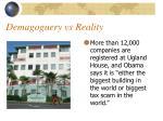 demagoguery vs reality