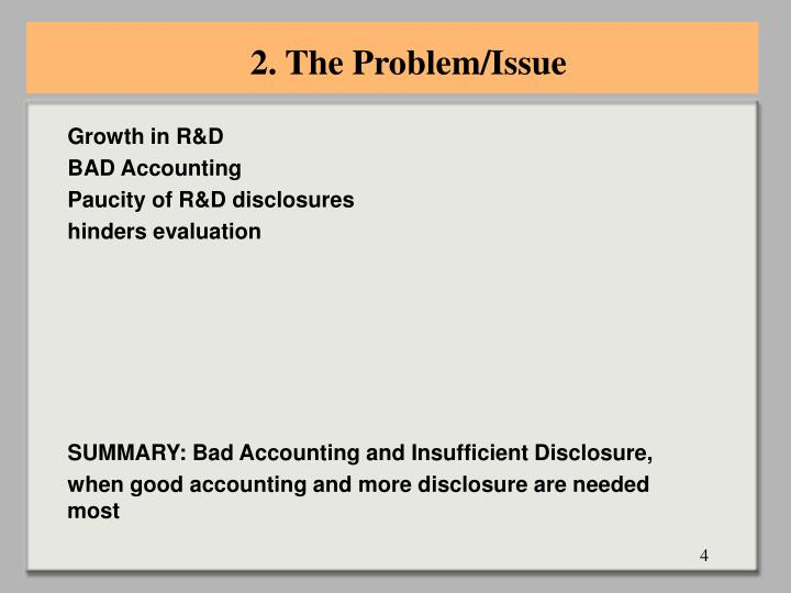 2. The Problem/Issue