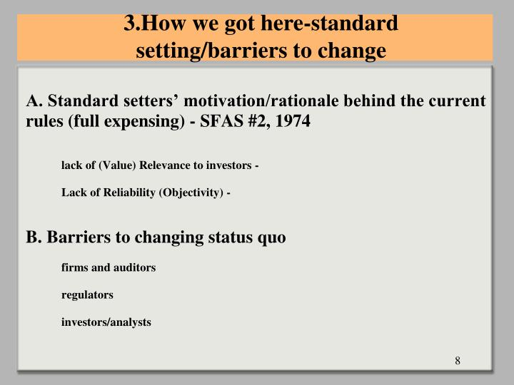 3.How we got here-standard setting/barriers to change