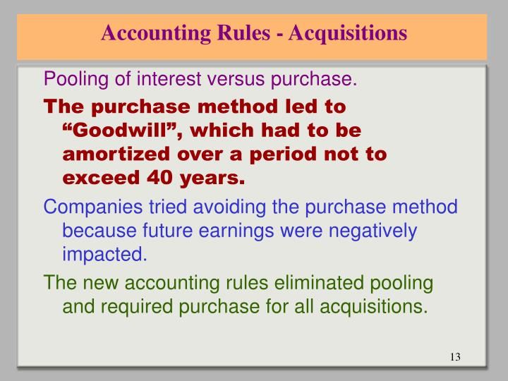 Accounting Rules - Acquisitions