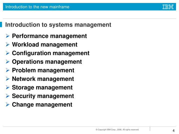 Introduction to systems management