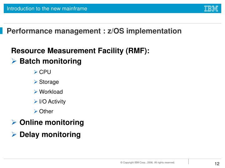 Performance management : z/OS implementation
