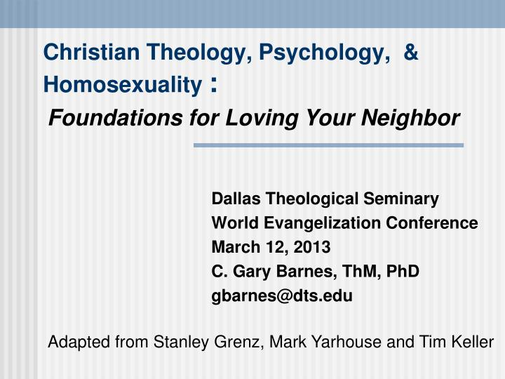 christian theology psychology homosexuality n.