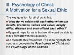 iii psychology of christ a motivation for a sexual ethic