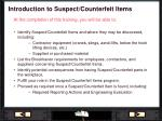 introduction to suspect counterfeit items