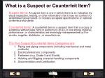 what is a suspect or counterfeit item