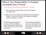 what is your responsibility if a suspect counterfeit item is found