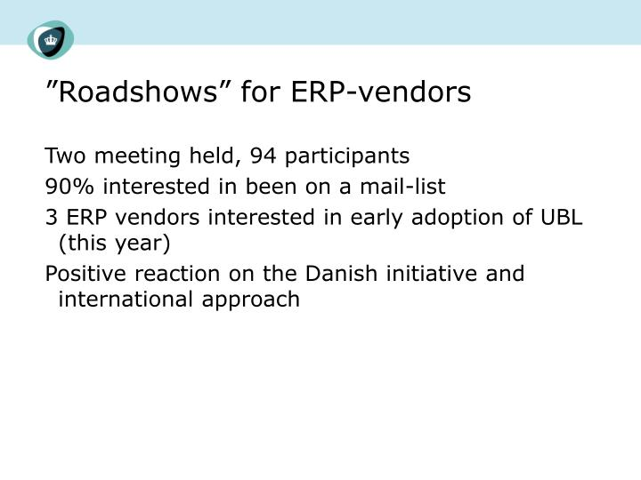 """Roadshows"" for ERP-vendors"