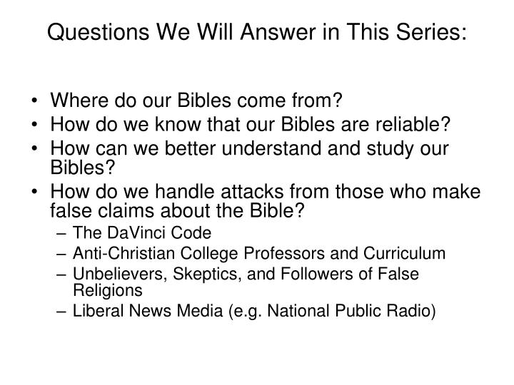 Questions we will answer in this series
