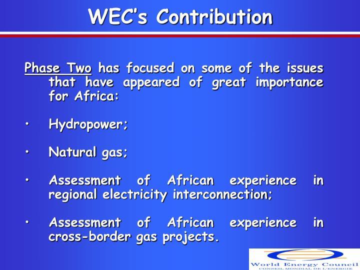WEC's Contribution