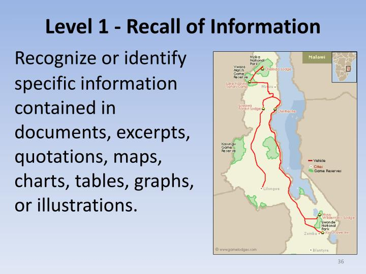 Level 1 - Recall of Information