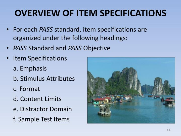 OVERVIEW OF ITEM SPECIFICATIONS