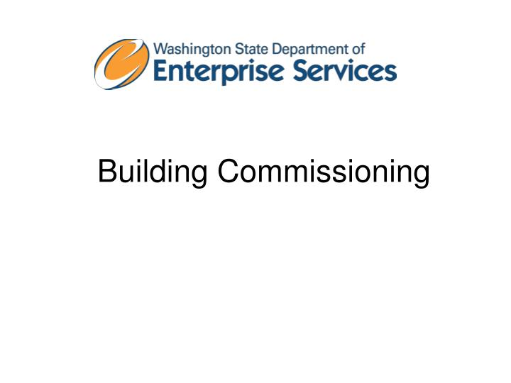 Building commissioning