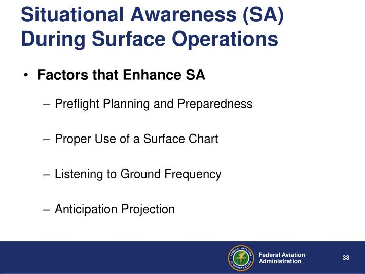 Situational Awareness (SA) During Surface Operations