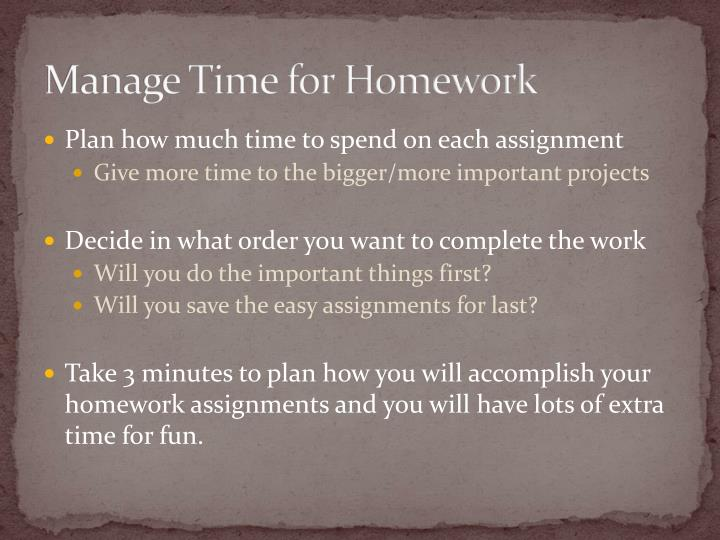 Manage Time for Homework