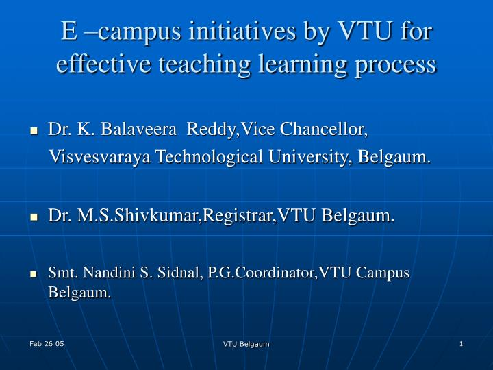e campus initiatives by vtu for effective teaching learning process n.