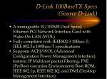 d link 100basetx specs source d link