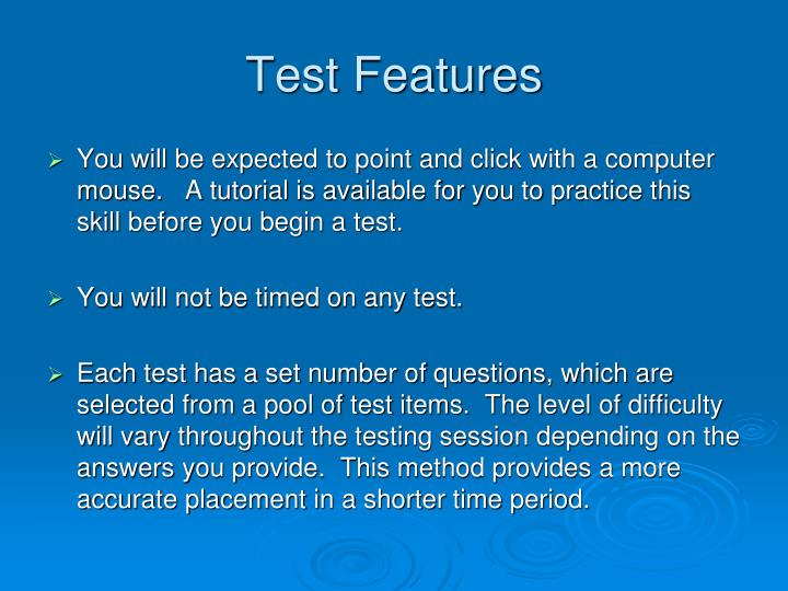 Test features