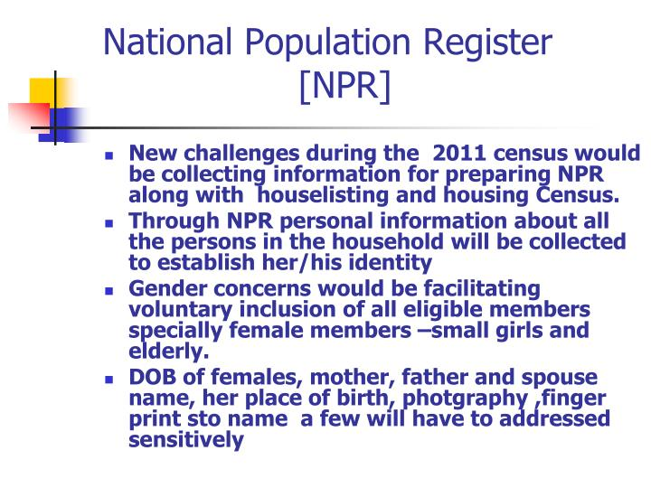 National Population Register  [NPR]